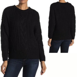 One A Black Long Sleeve Cable Knit Sweater